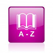 dictionary violet square web glossy icon