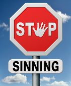 stock photo of sinful  - stop sinning resist temptation and go to heaven and not to hell resist to the devil listen to God - JPG