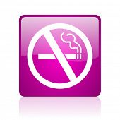no smoking violet square web glossy icon