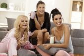 stock photo of pyjama  - Girls together at home - JPG