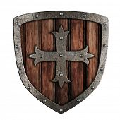 image of crusader  - Old crusader wooden shield illustration isolated on white - JPG