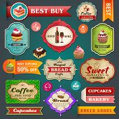 stock photo of ribbon decoration  - Collection of vintage retro bakery labels - JPG