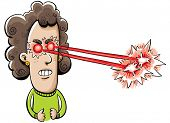 picture of laser beam  - A cartoon woman shoots laser beams from her eyes - JPG