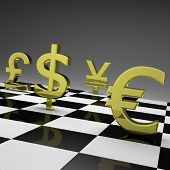 stock photo of chessboard  - 3D golden currency symbols on chessboard - JPG
