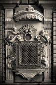picture of genova  - genova facade and window with grate in the old church italy - JPG