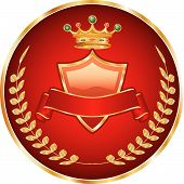 image of queen crown  - vector red medallion with golden crest and crown - JPG