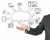 stock photo of draft  - Concept of a virtual cloud compute network - JPG