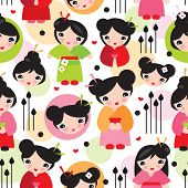 picture of geisha  - Seamless geisha girl illustration kids doll background pattern in vector - JPG