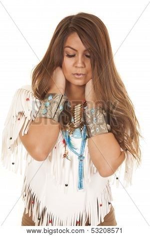 Native American White Top Close Eyes Closed