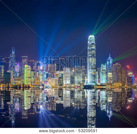 Hong Kong skyline at Victoria Harbor.