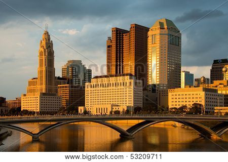 Columbus Ohio Skyline at Sunset