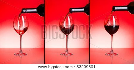 Three Phases Of Pouring Red Wine