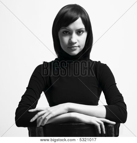 Beautiful Woman In Black Jacket