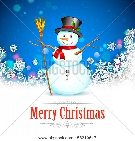 illustration of Snowman with broom in Christmas Snowflakes Background