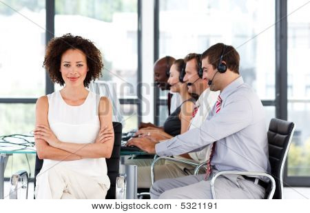 Young Confident Businesswoman Working In A Call Center