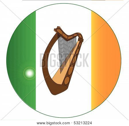 Irish Flag With Harp Button