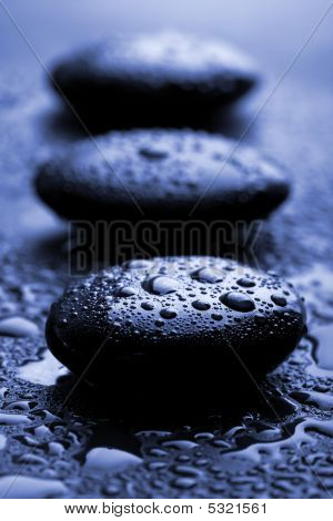 Shiny Zen Stones With Water Drops