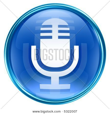 Microphone Icon Blue, Isolated On White Background