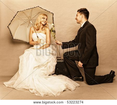 Romantic Married Couple Bride Groom Vintage Photo
