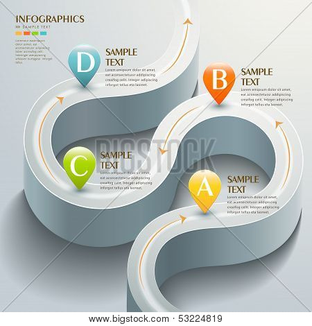 Vector Abstract 3D Road Infographics