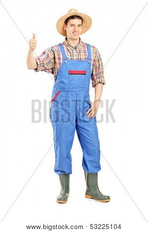 Full length portrait of a young smiling farmer giving a thumb up isolated on white background