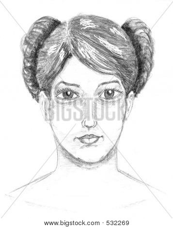 A Sketch Of A Pretty Young Woman ...