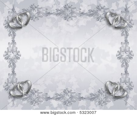 Silver Ornamental Wedding Border Hearts