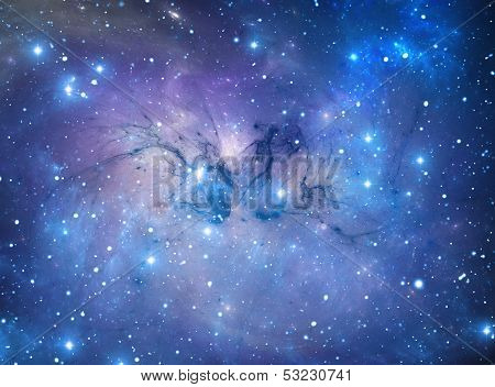 Blue Nebula With Fine Dust Formations