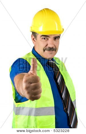 Mature Engineer Man Give Thumbs-up