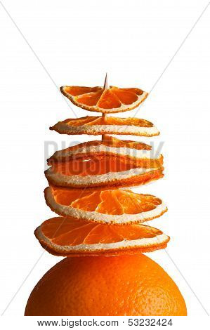 Decorative Tree From Orange Slices On A White Background