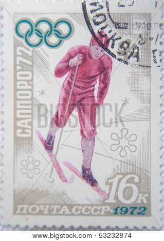 RUSSIA - CIRCA 1972: stamp printed by USSR shows Russian  Ice sprinter on Olympic Games Sapporo 72