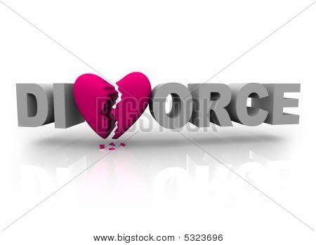 Scheidung Wort mit gebrochenem Herzen