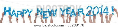 Many People Holding Happy New Year 2014