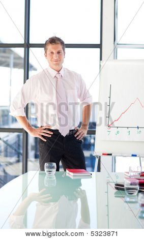 Young Businessman Standing In A Presentation