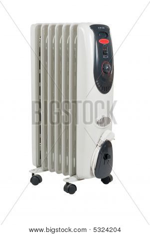 Home Oil Heater Isolated Over White In Studio.