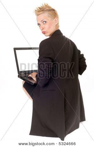 Punk Rock Woman And Laptop