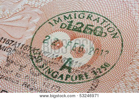 Singapore immigration stamp