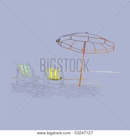 Pair of beach loungers on the deserted coast sea. Vector illustration on a purple background.