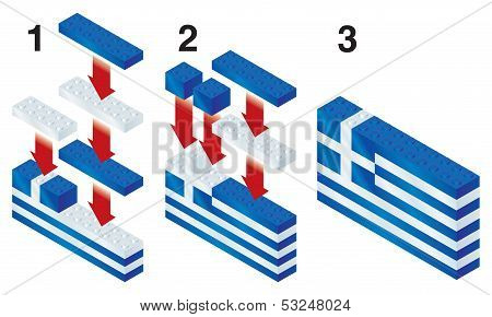 Building blocks making Greek flag