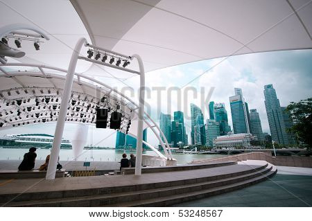 Singapore - February 26: View At Urban Landscape With Modern Skyscrapers Of Business District Marina
