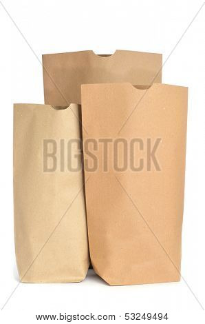 some grocery paper bags on a white background