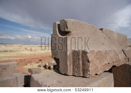 Megalithic blocks of Puma Punku Ruins, Tiwanaku, Bolivia