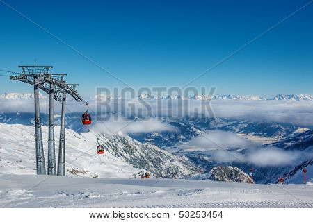 Skiing resort in the Alps