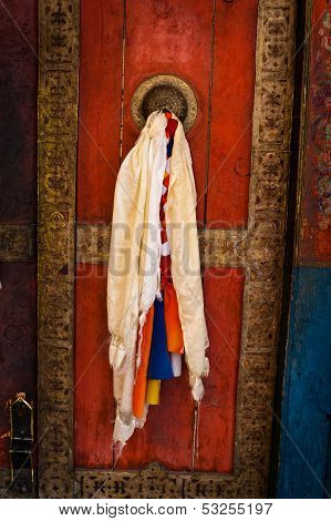 Old door at Buddhist monastery