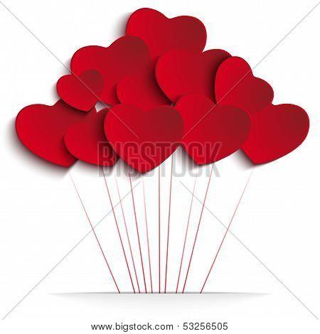 Día de San Valentín corazón globos sobre fondo rojo