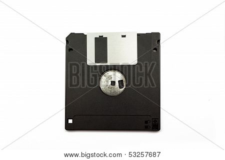 3.5 Old Diskette Back Side Isolated On White Background