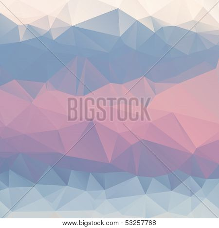 Abstract pink, blue, light blue background polygon.