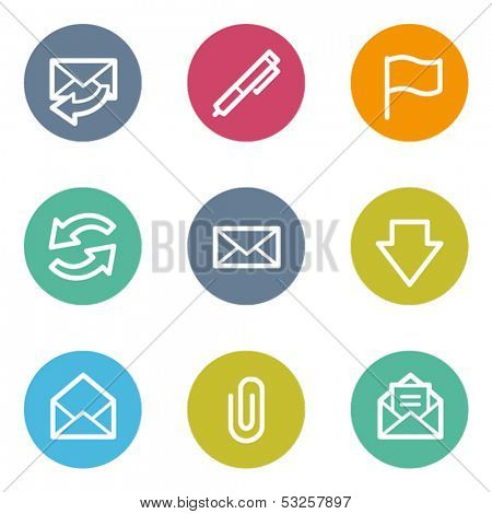 E-mail web icons, color circle buttons