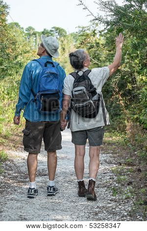 Happy Mature Couple Hiking On Nature Trail Holding Hands