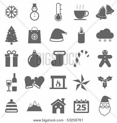 Winter Icons On White Background